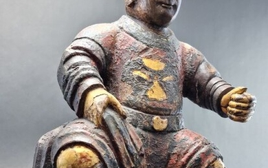 Sculpture (1) - Gold, Lacquer, Wood, gesso - China - 54 cm! early 18th c. - Qing dynasty