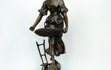 """Sign. Bronze statue """"The Sower"""" with marble base"""