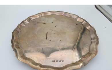 Solid Silver Salver Raised on Four Scroll Form Supports Pie ...