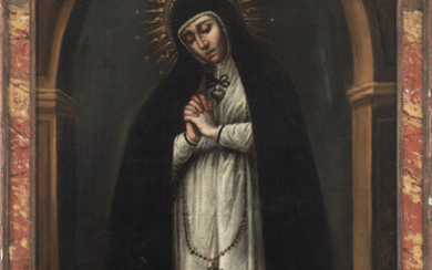 Spanish colonial school, Mexico, 17th century. True Portrait of Our Lady of Solitude from Victoria Convent, Madrid.