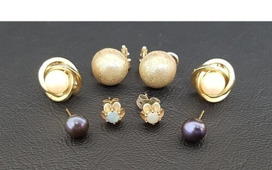 THREE PAIRS OF NINE CARAT GOLD EARRINGS comprising a pair of...