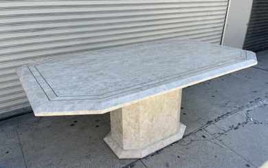 Tessellated Stone & Brass Dining Table by Matland Smith