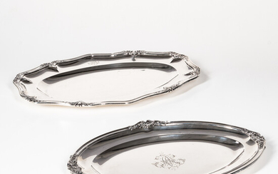 Two French Silver Oval Platters