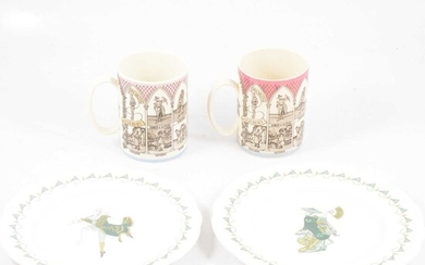 Two Wedgwood of Etruria Gilbert and Sullivan Operas Mugs, two Royal Worcester Mikado plates.