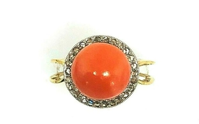 Victorian Coral Diamond 14K Yellow Gold Ring