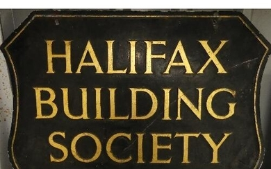 Vintage Signs; A 'Halifax Building Society' shaped double si...