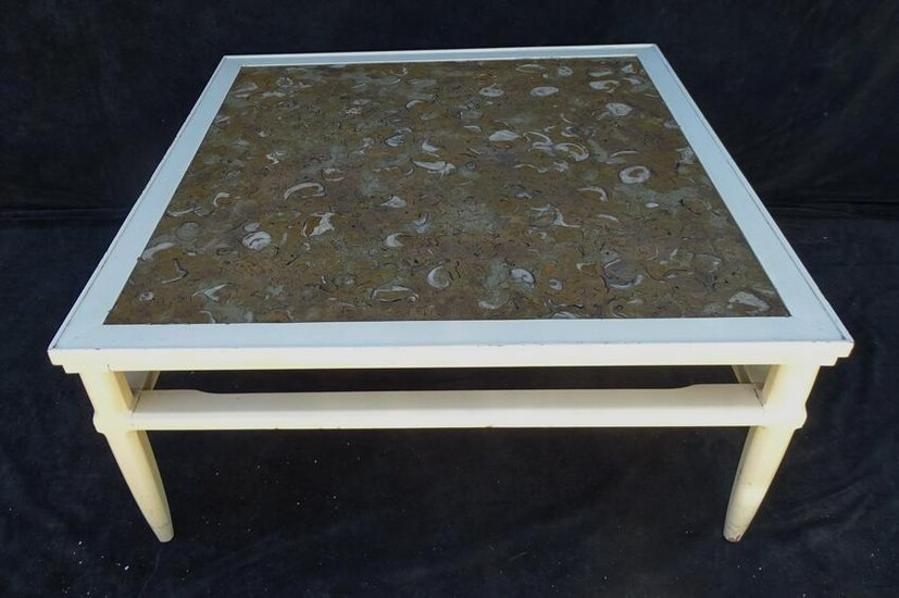 WHITE PAINTED COCKTAIL TABLE W/ IMPRESSIVE MARBLE TOP
