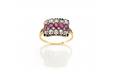 Yellow gold and silver ring with rose cut diamonds and oval rubies, g 3.08 circa size 20.5/60.5.Read more