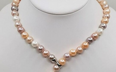 10x11mm Multi Cultured Pearls - 925 Silver - Necklace