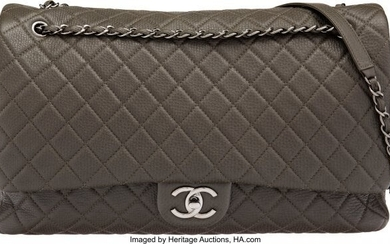 Chanel Charcoal Quilted Calfskin Leather XXL Fla