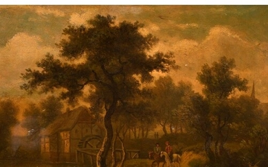 19th century school, possibly Dutch, a scene of figures on h...