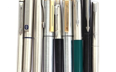 (-), 9 Parker and Scheaffer fountain and ballpoint...