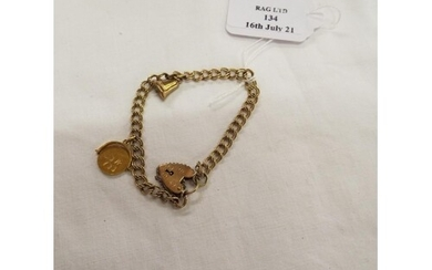 A 9ct gold charm bracelet with heart padlock 8.37g