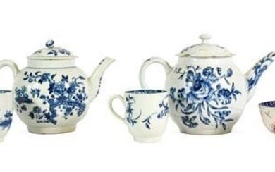 A Bow Porcelain Teapot and Cover, circa 1760, printed in...