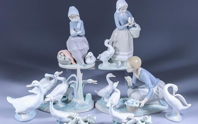 A Collection of Lladro and Nao Porcelain Figures, including...