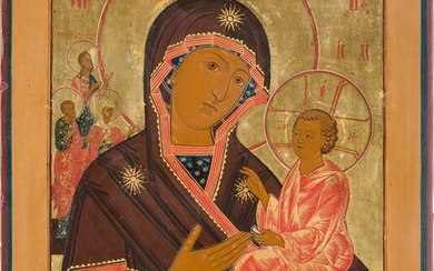 A LARGE DATED ICON SHOWING THE TIKHVINSKAYA MOTHER OF GOD...