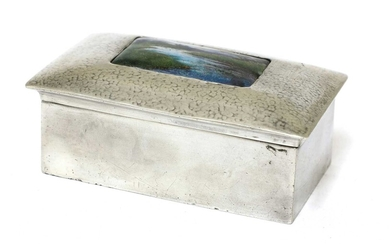 A Liberty Tudric pewter and enamel jewellery box