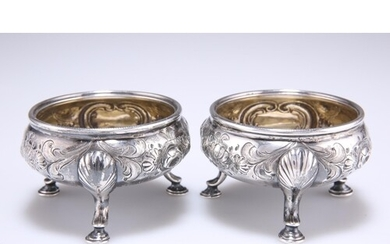 A PAIR OF 18TH CENTURY SCOTTISH SILVER SALTS, marks indistin...