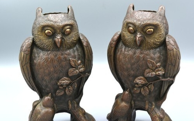 A Pair of 19th Century Patinated Bronze Vases in the form of...