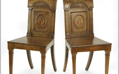 A Pair of Carved Wood Side Chairs.
