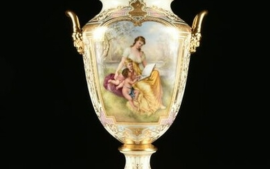 A ROYAL VIENNA STYLE PARCEL GILT AND HAND PAINTED