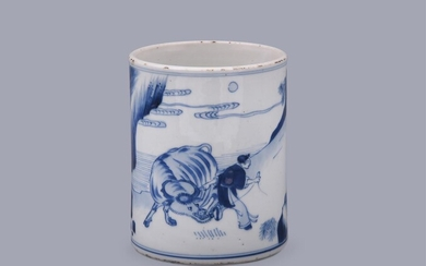 A good Chinese blue and white cylindrical brush pot