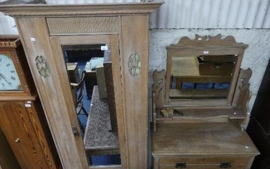 A late Victorian pine Dressing Table, with rectangular swing...