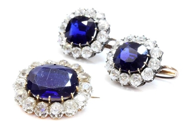 A pair of Austrian sapphire and diamond cluster earrings c.1890