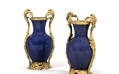 A pair of Louis XV style gilt-bronze mounted Chinese blue porcelain vases, 19th century