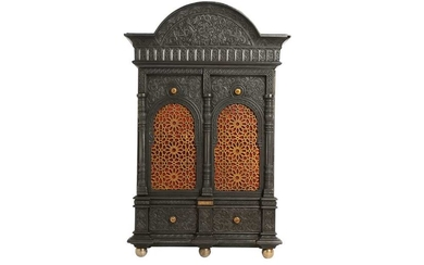 AN ALHAMBRA-STYLE CAST-IRON SAFE WALL CABINET WITH A SECRET LOCK Germany, late 19th century, after Rafael Contreras' architectural gesso panels