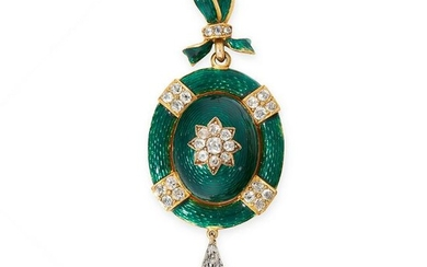 AN ANTIQUE DIAMOND, NATURAL PEARL AND ENAMEL MOURNING