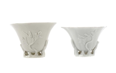 AN EARLY 20TH CENTURY CHINESE BLANC-DE-CHINE LIBATION CUP, ALONG WITH ANOTHER