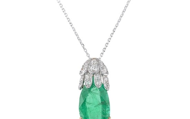 Antique Colombian Emerald and Diamond Pendant, GIA Certified
