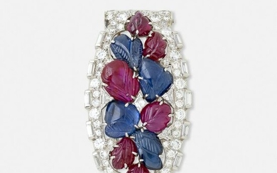 Art Deco, Diamond, carved ruby and sapphire brooch