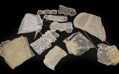 Assorted 19th Century and Later Lace Trimmed Costume Accessories, comprising...