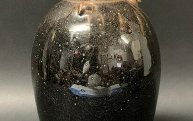 Black and Brown Pottery Jar