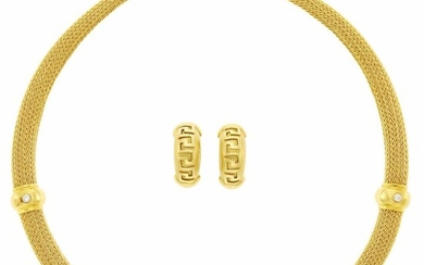 Braided Gold and Diamond Mesh Necklace and Pair of Earclips