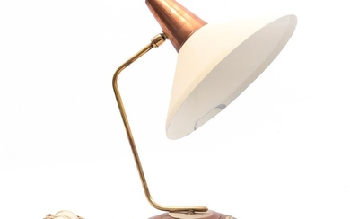 (-), Brass with copper desk/wall lamp with wooden...