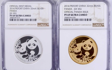 CHINA. Duo of Piefort Medals (2 Pieces), 2014. Panda Series. Both NGC PROOF-69 Ultra Cameo Certified.