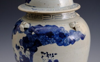 CHINESE BLUE AND WHITE PORCELAIN BALUSTER-FORM COVERED JAR WITH FU-DOG...