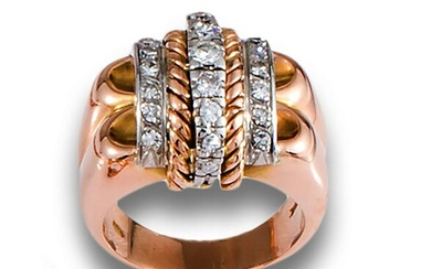 Chevalier ring in 18kts pink and white gold with