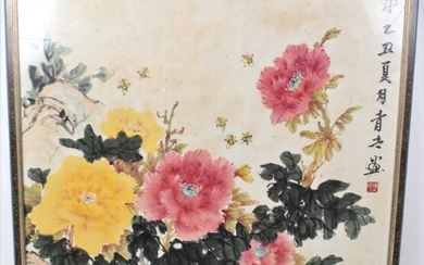 Chinese school, 20th century, watercolour and body colour Peonies