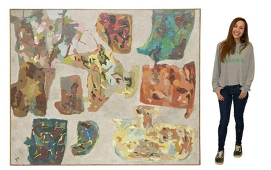 """FRANCISCO ICAZA (D.2014) ABSTRACT PAINTING 65""""X79"""""""