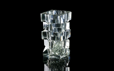 FRENCH MODERNIST STEPPED CUT GLASS VASE