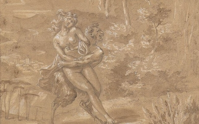 FRENCH SCHOOL, 17th CENTURY Satyr attacking a Nymph Pencil, charcoal...