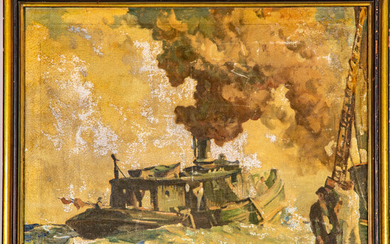 Frank Nelson Wilcox, (1887-1964) - Fish Tug on Lake Erie