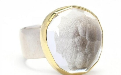 Gold, Silver, and Rock Crystal Quartz Ring
