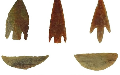 Group of 6 Neolithic Stemmed Points and Crescents.