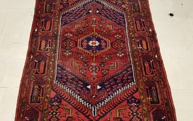 Hand-knotted oriental carpet with geometric decoration, dominantly red, Length 225...