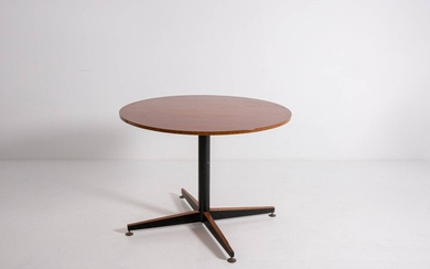 Italian round wooden and iron table. 1950s